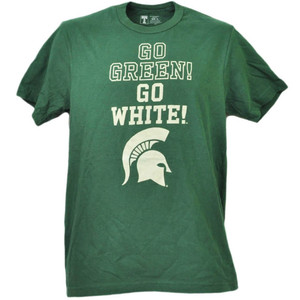 NCAA Michigan State Spartans Go Green Go White Tshirt Tee Mens Sport Crew Neck
