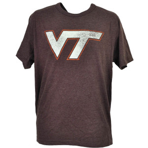 NCAA Virginia Tech Hokies Distressed Logo Tshirt Tee Mens Crew Neck Burgundy