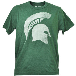 NCAA Michigan State Spartans Distressed Logo Green Short Sleeve Mens Adult Sport