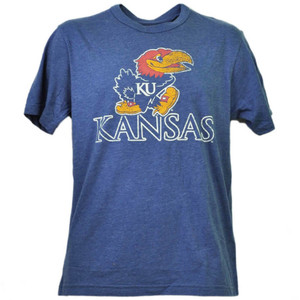 NCAA Kansas Jayhawks Distressed Logo Blue Mens Tshirt Tee Short Sleeve Sports