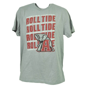 NCAA Alabama Crimson Roll Tide Gray Tshirt Tee Mens Adult Short Sleeve Crew Neck