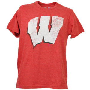 NCAA Wisconsin Badgers Distressed Logo Tshirt Tee Short Sleeve Red Mens Sports
