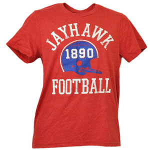 NCAA Kansas Jayhawks Helmet Football Red Tshirt Tee Mens Adult Short Sleeve
