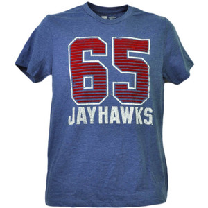 NCAA Kansas Jayhawks Felt 65 Short Sleeve Blue Mens Tshirt Tee Crew Neck Sports
