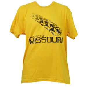 NCAA Missouri Tigers Repeat Logo Yellow Short Sleeve Mens Crew Neck Tshirt Tee