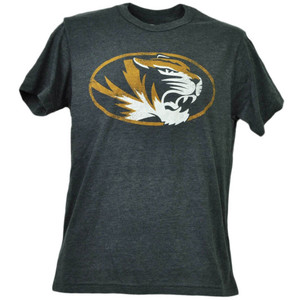 NCAA Missouri Tigers Distressed Logo Short Sleeve Tshirt Tee Mens Crew Neck Blk