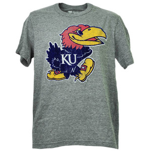 NCAA Kansas Jayhawks Felt Logo Tshirt Tee Gray Mens Short Sleeve Crew Neck Adult
