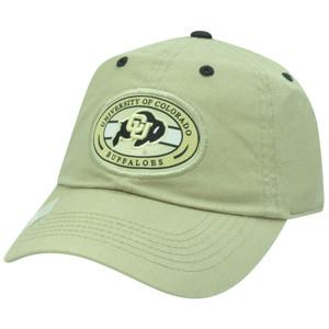NCAA Colorado Buffaloes Garment Wash Sun Buckle Circle Beige Adjustable Hat Cap