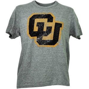 NCAA Colorado Buffaloes Felt Logo Short Sleeve Mens Gray Tshirt Tee Crew Neck