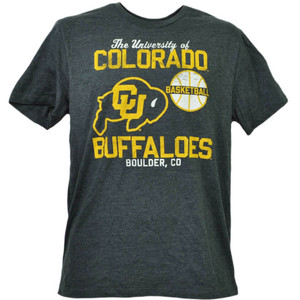 NCAA Colorado Buffaloes Basketball Short Sleeve Gray Mens Tshirt Tee Boulder CO