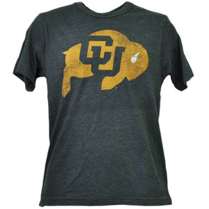 NCAA Colorado Buffaloes Charcoal Tshirt Tee Mens Adult Short Sleeve Distressed