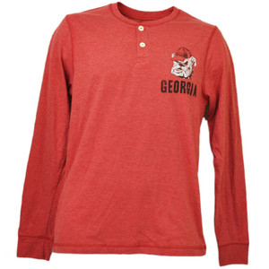 NCAA Georgia Bulldogs Long Sleeve Button Crew Neck Tshirt Mens Adult Red Henley
