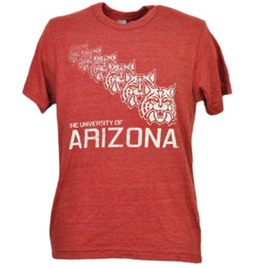 NCAA Arizona Wildcats Repeat Logo Red Tshirt Tee Mens Adult Crew Neck Sports