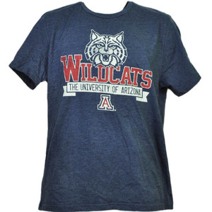 NCAA Arizona Wildcats Navy Tshirt Tee Mens Adult Short Sleeve Crew Neck Sports