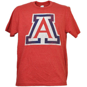 NCAA Arizona Wildcats Distressed Logo Red Tshirt Tee Mens Adult Crew Neck Sports