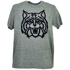 NCAA Arizona Wildcats Felt Logo Gray Tshirt Tee Mens Adult Short Sleeve Sports