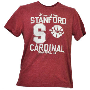 NCAA Stanford Cardinals Basketball Tshirt Tee Mens Burgundy Short Sleeve Sports
