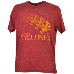 NCAA Iowa State Cyclones ISU Repeat Logo Red Mens Tshirt Tee Crew Neck Sports