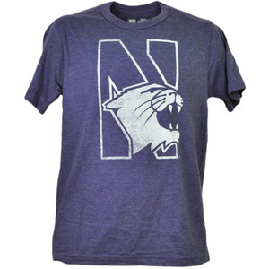 NCAA Northwestern Wildcats Tshirt Tee Purple Short Sleeve Mens Adult Crew Neck