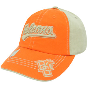 NCAA Bowling Green Falcons Garment Wash Two Tone Sun Buckle Curved Bill Hat Cap