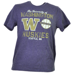 NCAA Washington Huskies Basketball Purple Men Tshirt Tee Short Sleeve Seattle WA