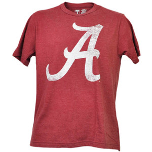 NCAA Alabama Crimson Tide Distressed Logo Mens Tshirt Tee Burgundy Crew Neck