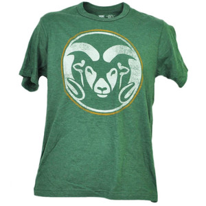 NCAA Colorado State Rams Distressed Logo Tshirt Tee Mens Short Sleeve Crew Neck