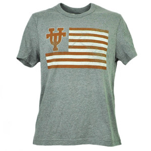 NCAA Texas Longhorns Flag Gray Tshirt Tee Mens Adult Short Sleeve Crew Neck Sport
