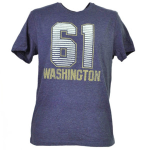 NCAA Washington Huskies Felt 61 Distressed Purple Mens Tshirt Tee Crew Neck