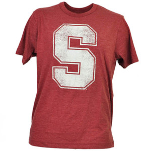 NCAA Stanford Cardinals Distressed Logo Tshirt Tee Burgundy Mens Adult Sports