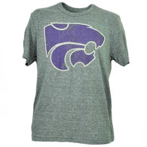 NCAA Kansas State Wildcats Felt Tshirt Tee Mens Short Sleeve Gray Sports Adult
