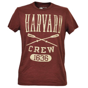 NCAA Harvard Crimson Crew 1636 Burgundy Tshirt Tee Mens Adult Short Sleeve Sport