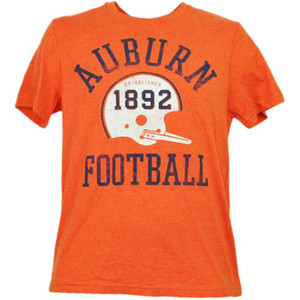 NCAA Auburn Tiger Helmet Football Orange Tshirt Tee Short Sleeve Crew Neck Mens