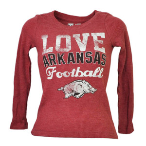 NCAA Arkansas Razorbacks Love Football Kids Pullover Tshirt Long Sleeve Burgundy