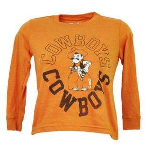 NCAA Oklahoma State Cowboys OSU Kids Boy Long Sleeve Orange Crew Neck Sports