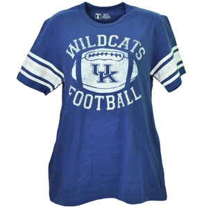 NCAA Kentucky Wildcats Football Short Sleeve Striped Blue Mens Tshirt Tee Adult