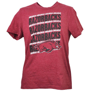 NCAA Arkansas Razorback Repeat Logo Tshirt Tee Burgundy Mens Adult Short Sleeve