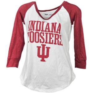NCAA Indiana Hoosiers Mid Sleeve Womens Tshirt Tee Ladies Burgundy White Adult