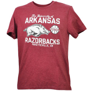 NCAA Arkansas Razorbacks Fayetteville AR Basketball Burgundy Tshirt Tee Mens