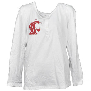 NCAA Washington State Cougars White Womens Long Sleeve Tshirt Crew Neck Large