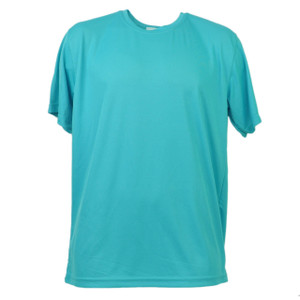 Aqua Dry Fit Tshirt Tee Mens Adult Short Sleeve Plain Blank Solid Gym Crew Neck