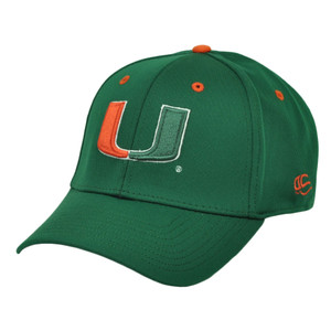 NCAA Miami Hurricanes Flex Fit Large XLarge Stretch Green Sports Hat Cap Canes