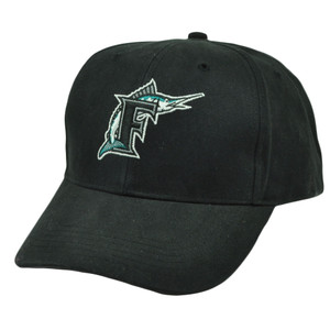 MLB Florida Marlins Black Velcro Adjustable Sports Hat Cap Curved Bill Old Logo