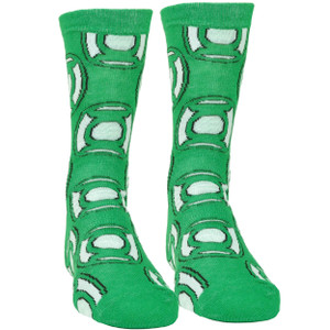 DC Comics Green Lantern Long Sock Size 6-12 Super Hero Comic Book Cartoon White
