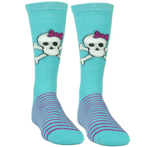 Pink Cookie Design Skull Graphic Aqua Purple Striped Long Socks Size 6-12 Womens