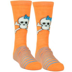 Pink Cookie Design Skull Graphic Orange Sock Long Socks Striped Size 6-12 Women