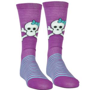 Pink Cookie Design Skull Graphics Purple Striped Long Socks Size 6-12 Women