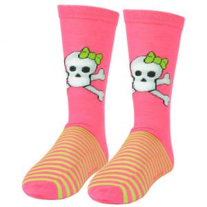Pink Cookie Design Skull Neon Pink Neon Green Striped Long Socks Size 6-12 Women