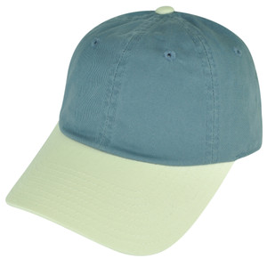 American Needle Blank Two Toned Blue Beige Plain Sun Buckle Curved Bill Hat Cap