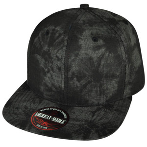 American Needle Cotton Palm Trees Pattern Blank Black Snapback Flat Bill Hat Cap